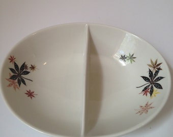 Vintage 1950s Peter Terris Shenango China Calico Leaves Divided Serving Dish