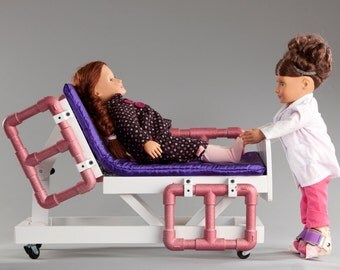Hospital bed compatible with American Girl or 18 inch doll; adjustable bed