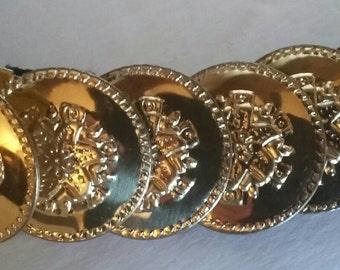 Vintage 80s Gold Coin Stretch Belt S