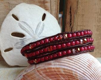 3 Wrap Brown Leather Bracelet - Cranberry