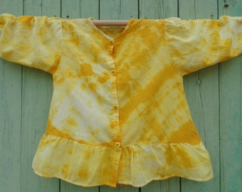 Blouse cotton tie and dye of yellow girl (Teen)