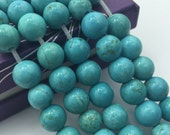 2.0mm Large  Hole Blue Turqoise Stone Smooth Round  10mm/8mm Semi-Precious Gemstone Loose Beads Approximate 15.5 Inch. R-S-L-TUR-0295