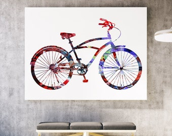 Watercolor Bicycle Print - Colorful Poster Art Print - Wall Poster - Gift Idea