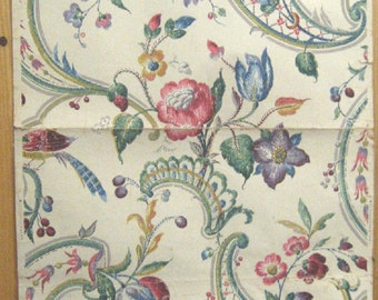Antique Beautiful 19th C. French Exotic Floral Wallpaper (9601)