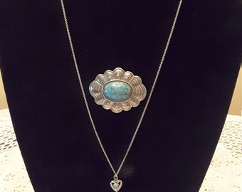 Turquoise Sterling Silver Heart Shaped Necklace with Gorgeous Accent Brooch / Sterling / Native American