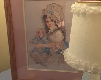 Handmade Beautiful Victorian Girl With Doll Crewel / Embroidered Framed and Matted Art / Picture / Addie girl with bonnet