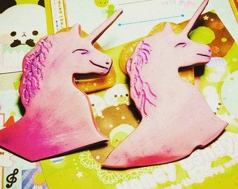 Pink Unicorn Clay Brooch
