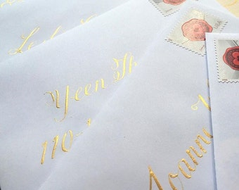 "Custom Hand Lettered Wedding Invitation / Envelope Calligraphy /  5 1/2"" x 7 1/2"" Ecru Envelopes /"