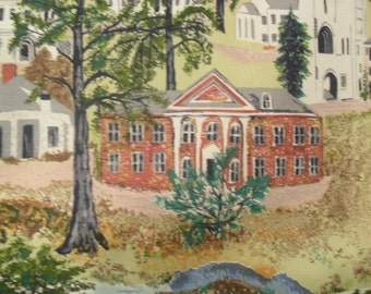 Vintage Cotton Bark Cloth Grandma Moses Williamstown Fabric Cottage Material