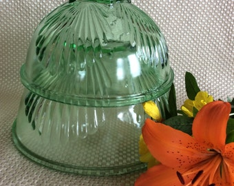 Vintage Federal glass green nesting mixing bowls utility kitchenware