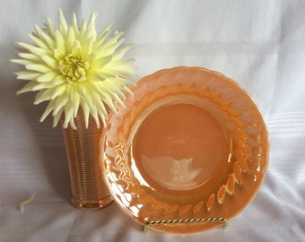Vintage Anchor Hocking Fire King swirl or shell soup bowl Peach Luster