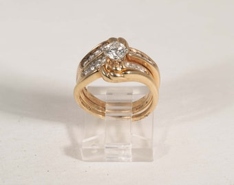 14k Three Piece Diamond Engagement Ring, Center Stone .45 ct. with 16 Diamonds around. app. 1.0 ct. tw. Size 5
