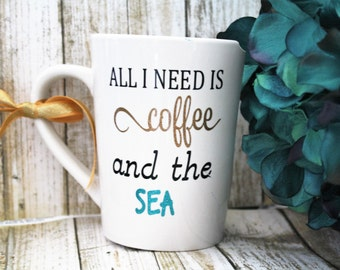 Cute coffee mug, love coffee mug, love coffee cup, beach coffee mug, love the beach, sea love, gift for her, Beach mug, beach cup