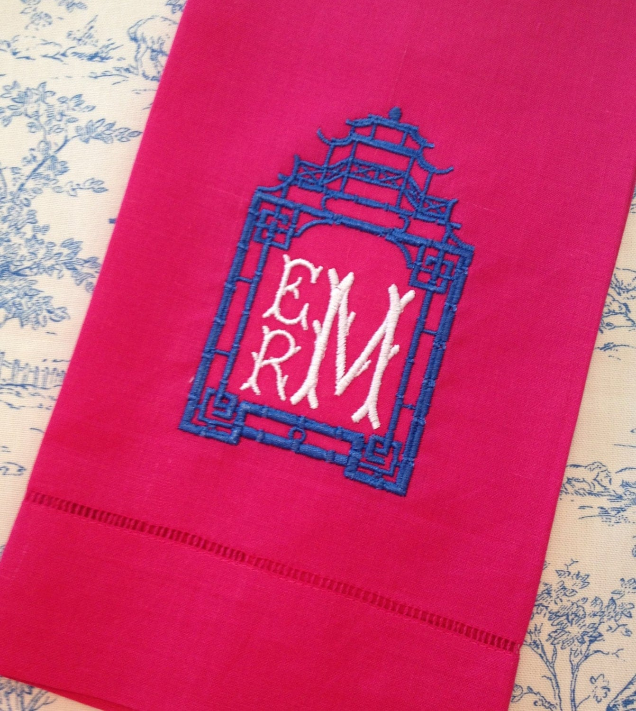Pagoda Monogram Linen Guest Towel
