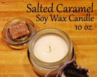 CLEARANCE! Salted Caramel Soy Wax candle 10 oz. apothecary jar - birthday gift - wedding gift - gifts for her - sister - mother - aunt
