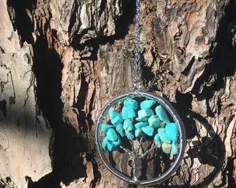 Turquoise Tree of Life Necklace with chain