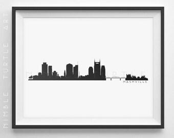 Nashville Skyline Silhouette  -  Printable Skyline  -  Nashville Tennessee  -  PDF, png, svg, eps, JPG  -  Last Minute Gift