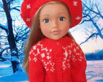 """Doll cardigan and beret PDF knitting pattern. American girl doll size. 18"""" tall. in DK wool."""