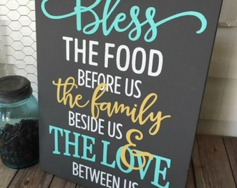 Bless this Food Wooden Sign | Hand Painted | Home Decor | Prayer | Religious | Mint and Gray | Mint | Yellow | Gray