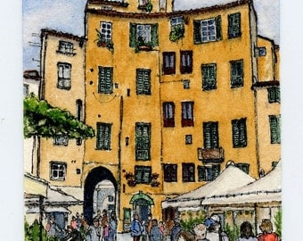 "ORIGINAL Miniature Ink and Watercolour Painting - ""Anfiteatro in Lucca"" (Tuscany, Italy)/Mini Vacations Series"