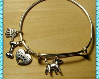 Best friend dog charm bracelet (Tarnish resistant wire). Item#5