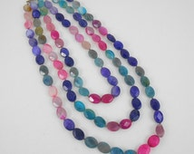 Necklace Quality 3 Strands Of Beautiful Multi Colored Gem Type Stones With Sterling Silver Clasps