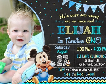 Baby Mickey Mouse Invitation Printable, Baby Mickey Mouse Birthday Party