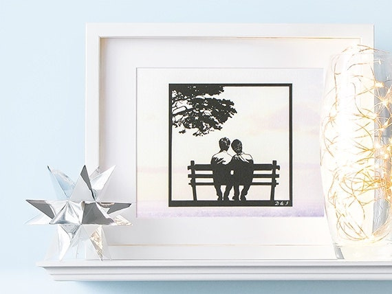 Gay men wedding gifts, personalized gay couple art print, gay love art ...
