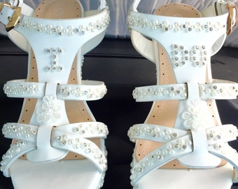 Wedding Shoes High Heel Wedge Platform Bridal Sandals in Light Ivory.