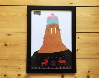 Mr Walrus, Wearing a Bobble Hat and Jumper, Snazzimals, Animal Prints, Animals Who Wear Clothes