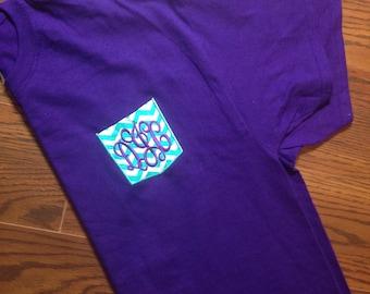 "4"" Embroidered Monogram Applique Pocket T-Shirt"