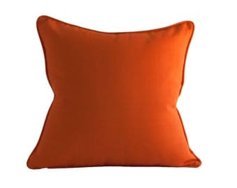 Orange Outdoor Pillow Cover - Zippered Pillow - Pillow with Piping - Decorative Pillow Cover - Orange Pillow Cover - Modern Pillows