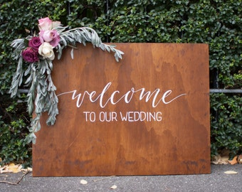 Welcome To Our Wedding. Wedding Welcome Sign. Wooden Rustic Wedding Signage. Wedding Ceremony Reception.