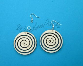Decoupage! Plain wooden earrings, jewelry for decoupage, base of jewellery, spiral circle