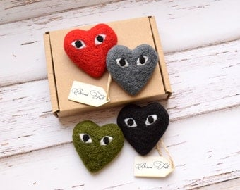 Needle felted brooch, heart with eyes, high quality brooch