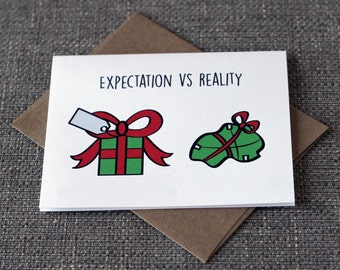 Expectation VS Reality Funny Cute Christmas Greeting Card