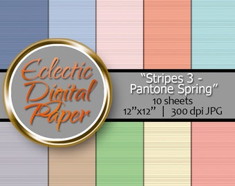 Digital Paper Stripes 3 , Stripes Digital Paper Pack,  Pantone Spring Stripes, Digital Paper Stripes