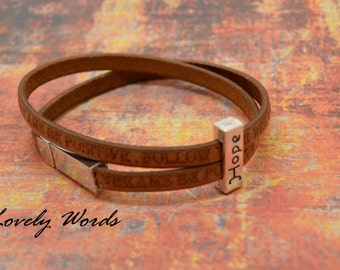 women FOLLOW YOUR DREAM hope silver leather bracelet