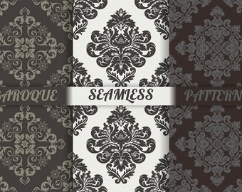 3 vector damask seamless patterns. Luxury stylish tiled wallpaper. AI+EPS10+JPEG+PNG. Repeating decorative seamless ornaments