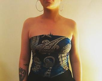 Blue Tye dye paisley boob tube