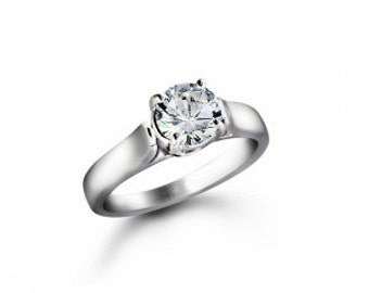 ring 14 k White Gold with diamond 0.91 CT