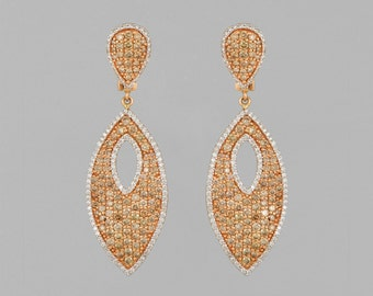 Earrings 14 K Gold 7 CT diamonds