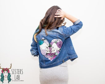 Custom made hand painted denim jacket