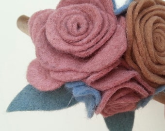 cluster of roses felt flower headband