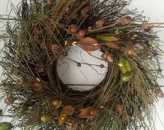 Fall twig wreath, twig wreath, Fall decor, door wreath, autumn wreath, Autumn  decor, primitive wreath, farmhouse wreath, farmhouse decor