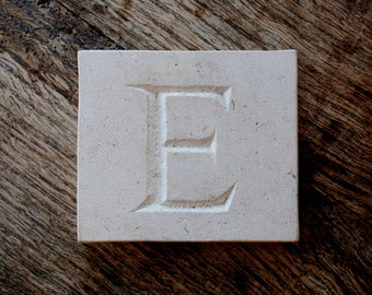 Letter 'E' Hand Carved In Beautiful White Portland Stone Standing Stone Fossil Tablet Everlasting Wedding Christening Gift Personalised Art