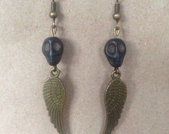 Skull and Angel Wing Earrings