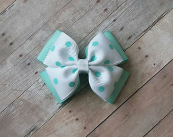Girls Teal & White with polka dots double pinwheel 4 inch hair bow