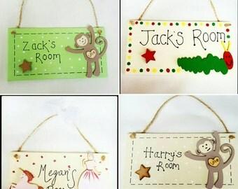 Children's door name plaques- different options in pictures. Boys and girls bedroom options