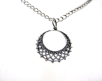 Silver Necklace, Silver Filigree Hoop Necklace, N303
